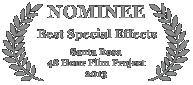Nominee - Best Special Effects, 2013 Santa Rosa 48 Hour Film Project